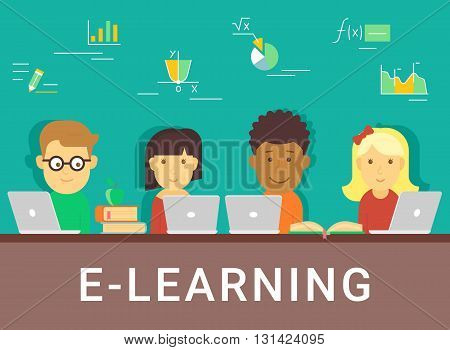 E-learning concept illustration of young various people using laptop for distance studying and education. Flat design of young guys and girls sitting with books and laptops at school