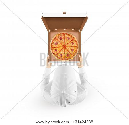 Delivery man holding pizza box mockup with tasty pizza in hand isolated on white top view. Deliver guy in clear uniform hold opened box mock up. Food packaging template. Pizzeria identity branding