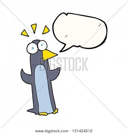 freehand drawn speech bubble cartoon surprised penguin