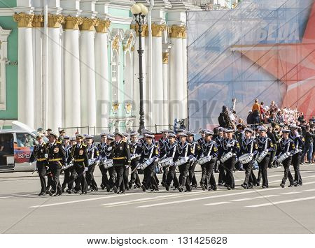 St. Petersburg, Russia - 9 May, Division military drummers Sea Cadet Corps, 9 May, 2016. Festive military parade on the Palace Square in St. Petersburg.