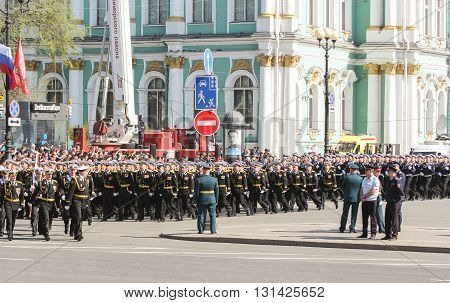 St. Petersburg, Russia - 9 May, Divisions in the military march, 9 May, 2016. Festive military parade on the Palace Square in St. Petersburg.