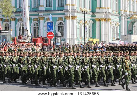 St. Petersburg, Russia - 9 May, Division soldiers in green uniform, 9 May, 2016. Festive military parade on the Palace Square in St. Petersburg.