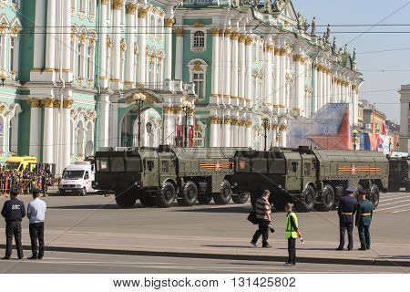 St. Petersburg, Russia - 9 May, Military vehicles strategic near the Winter Palace, 9 May, 2016. Festive military parade on the Palace Square in St. Petersburg.