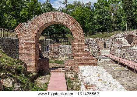 Entrance of the ancient Thermal Baths of Diocletianopolis, town of Hisarya, Plovdiv Region, Bulgaria