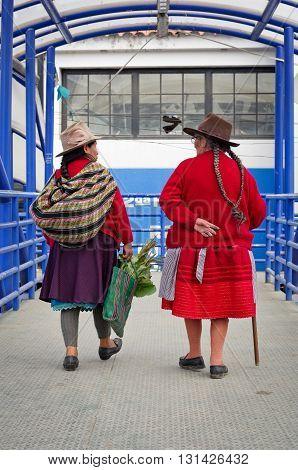 HUARAZ PERU - APR 15: Peruvian women on the street on Apr 15 2015 in Huaraz Peru