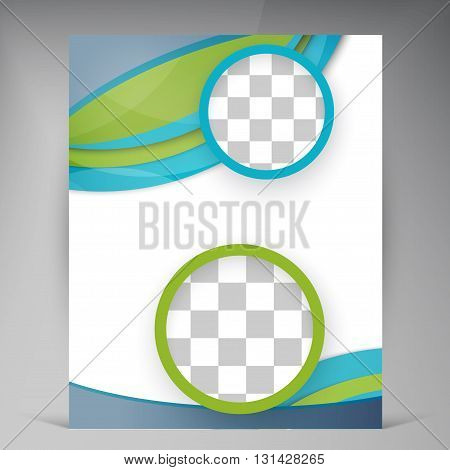 Vector Beautiful Green Flyer. Template flyers design. Business brochure and circles