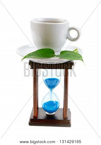 cup of coffee and an hourglass isolated on white background