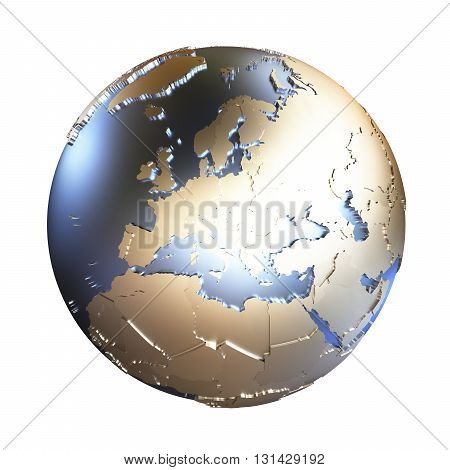 Europe On Golden Metallic Earth