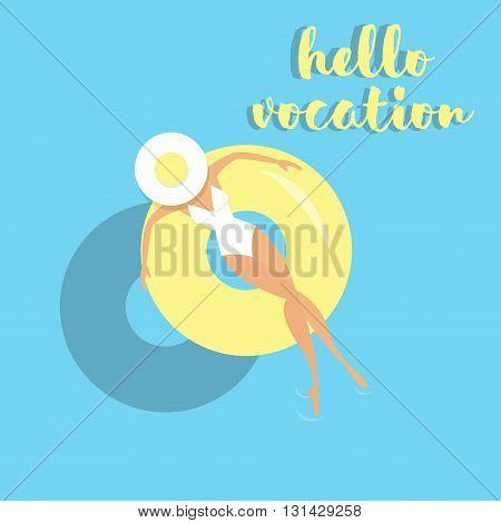Girl with lifebuoy floating on water, vector illustration. hello vocation postcard