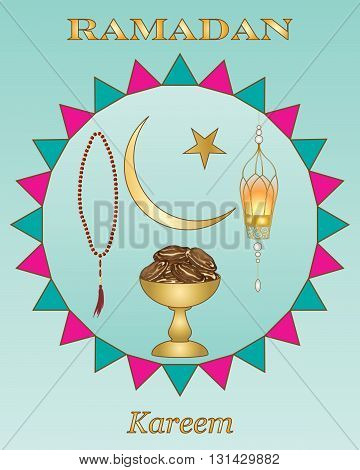 an illustration of a ramadan greeting card with gold lettering a bowl with dates prayer beads and lantern on a jade background