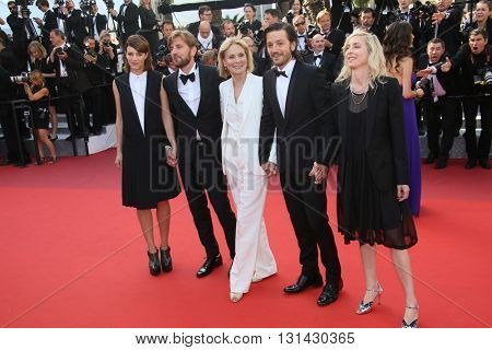 CANNES, FRANCE - MAY 21:  Celine Sallette, Ruben Oestlund, Marthe Keller, Diego Luna   attends the 'Elle' Premiere during the 69th Cannes Film Festival at the Palais on May 21, 2016 in Cannes, France.