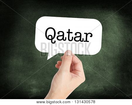 Qatar written on a speechbubble
