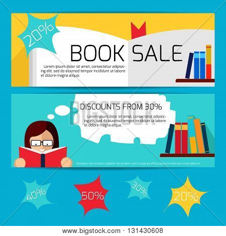 Book Sale Horizontal Banners - Vector Flat Illustrations.
