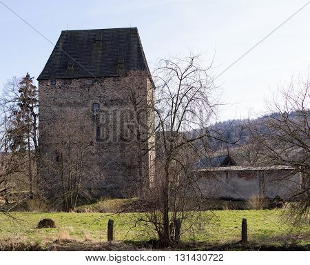 Medieval tower in Siedlecin in Silesia, Poland