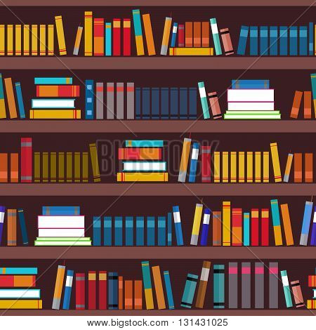 Book shelf seamless pattern. Vector flat illustration