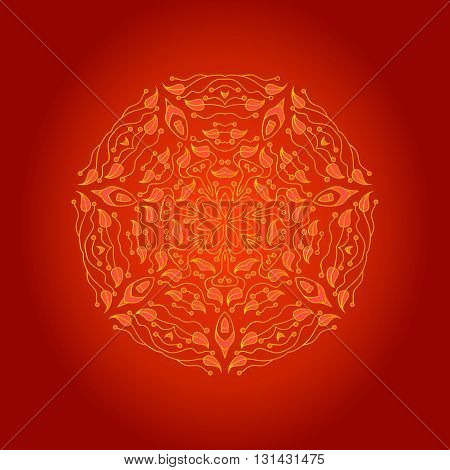 Ornamental round lace pattern, circle background with many details, lacy arabesque designs