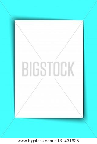Blank A4 White Paper with Shadow on Blue Background