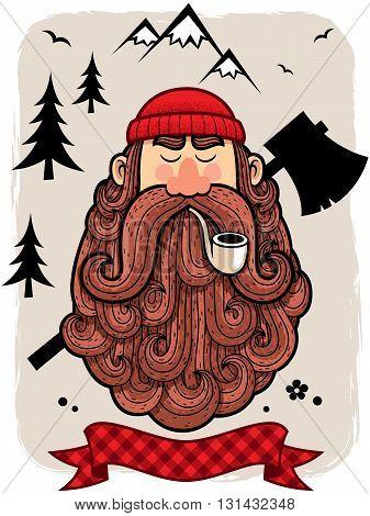 Illustration of cartoon lumberjack with simple background.