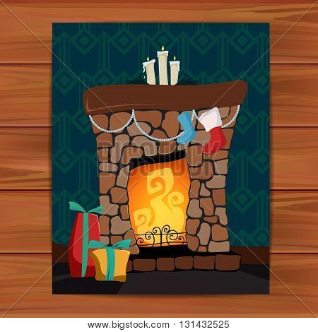 Vector fireplace illustration. Christmas card poster banner.