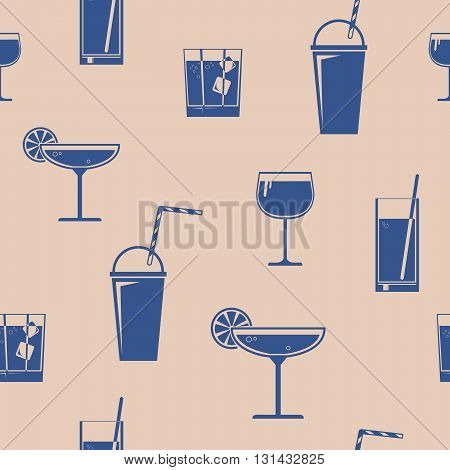 Vector seamless pattern with some different drinks