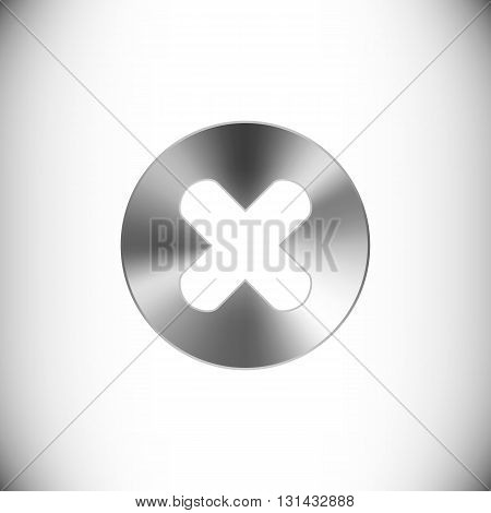 The steel icon representing circle with a cross for web or mobile devices.