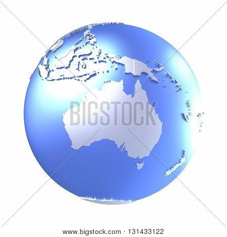 Australia On Bright Metallic Earth