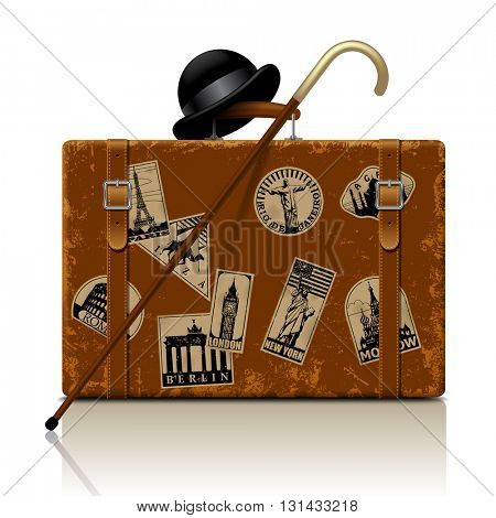 Vintage brown threadbare suitcase with walking stick, bowler hat and retro vacation & travel labels set. Vector illustration. EPS 10