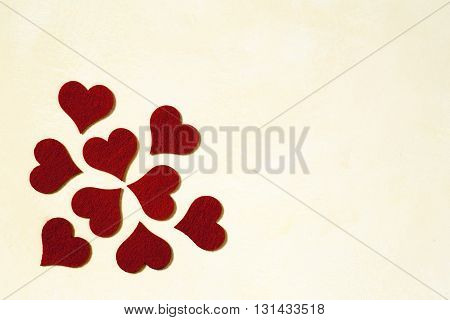 Love and Valentines day background with red hearts