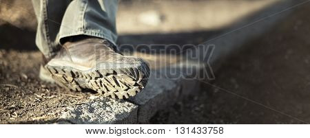 Website banner - sole of male trekking / hiking shoes