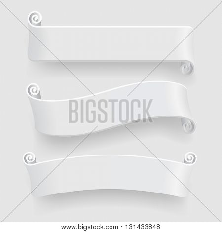 Three white ribbons with drop shadow on white background. Caption banners set without transparent objects. Vector illustration