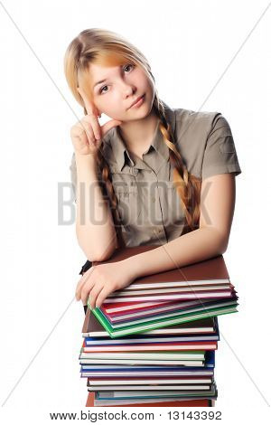 Portrait of a pretty student. Shot in a studio.