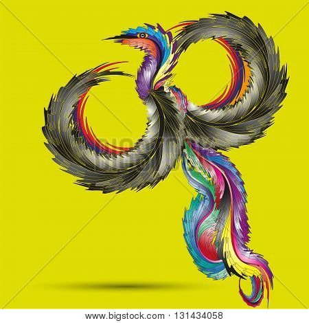 Illustration of colorful bird angel Drawing on a yellow background with the shadow of a bright and original angel bird with a magnificent tail for decoration and design