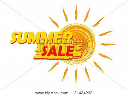 summer sale banner - text in yellow and orange drawn label with sun symbol, business seasonal shopping concept, vector