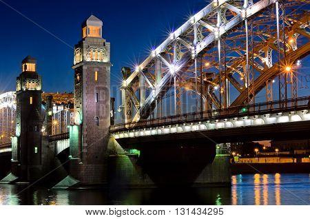 Bolsheohtinskiy bridge at night in Saint Petersburg Russia.
