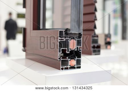 Plastic window profile. Cross section of a PVC window or door