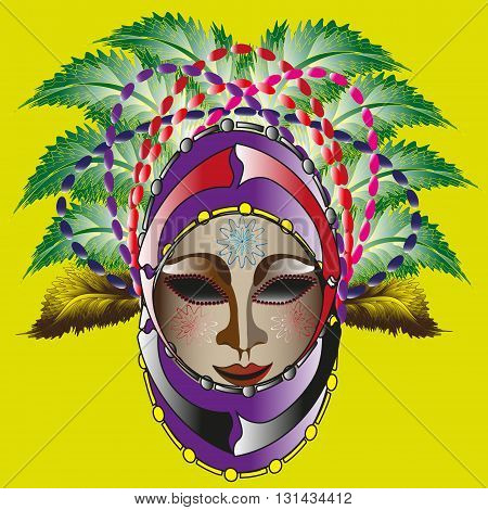 Drawing bright carnival mask Illustration colorful carnival mask on a yellow background for decoration and design