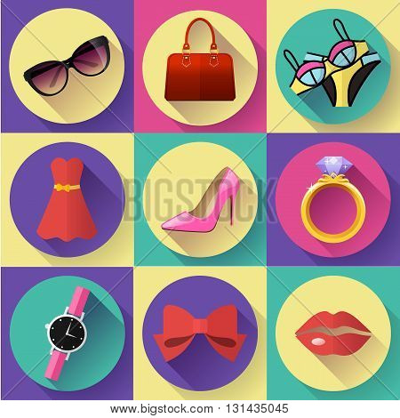 Fashion and Clothing Icons set. Flat 2.0 vector design style with long shadow.