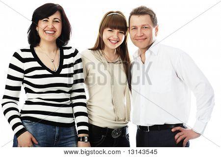 Glückliche Familie: Eltern mit ihrer erwachsenen Tochter.
