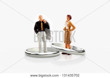 miniature people  - a senior married couple