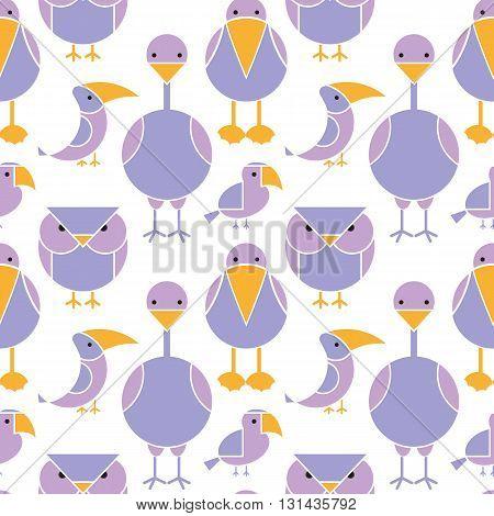 Cute seamless pattern of different birds. Cartoon illustration of exotic birds.