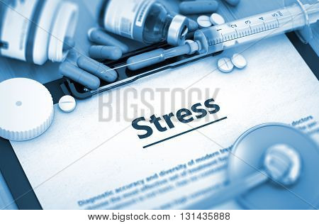 Diagnosis - Stress On Background of Medicaments Composition - Pills, Injections and Syringe. 3D Render.