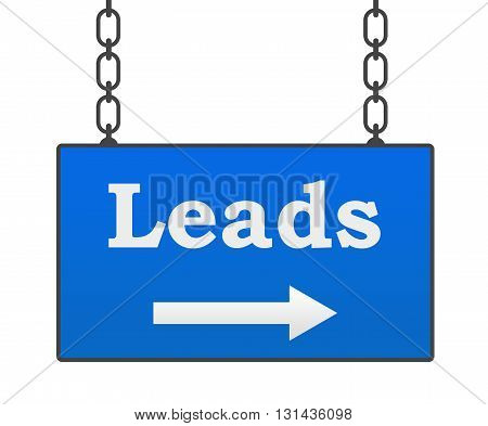 Leads text written over blue hanging signboard