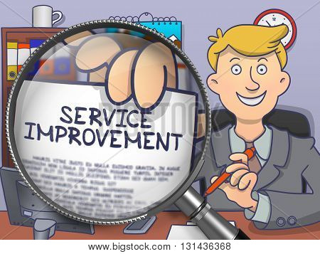 Service Improvement. Businessman Showing Text on Paper through Lens. Colored Modern Line Illustration in Doodle Style.