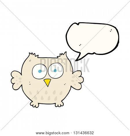 freehand drawn speech bubble cartoon happy owl