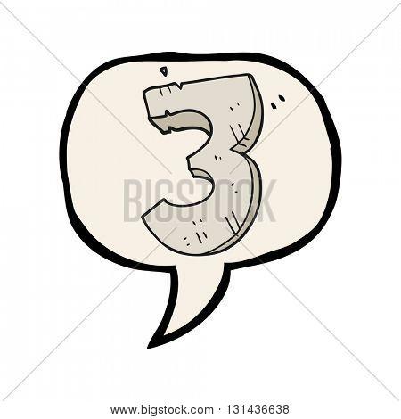freehand drawn speech bubble cartoon stone number three