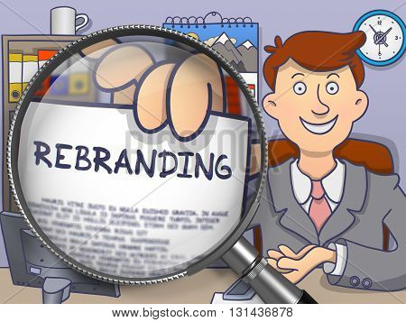 Rebranding. Paper with Concept in Businessman's Hand through Lens. Multicolor Modern Line Illustration in Doodle Style.