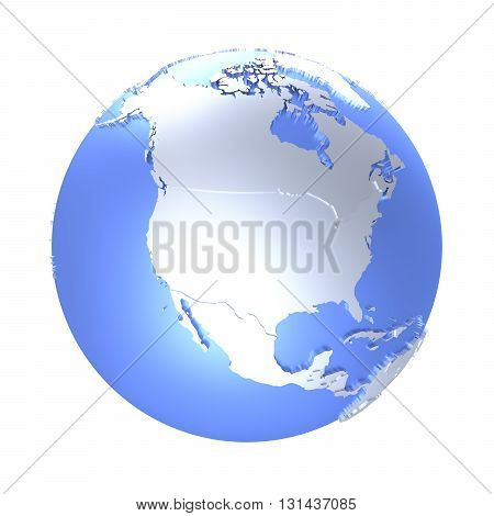 North America On Bright Metallic Earth