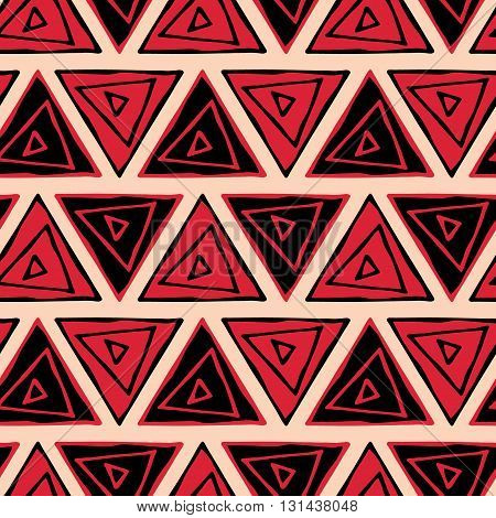 Ethnic seamless pattern. Tribal triangles seamless background