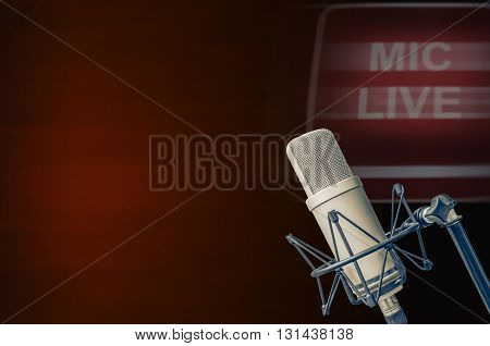 for radio station and TV microphone live