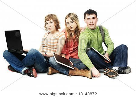 Educational theme: group of students studing together.